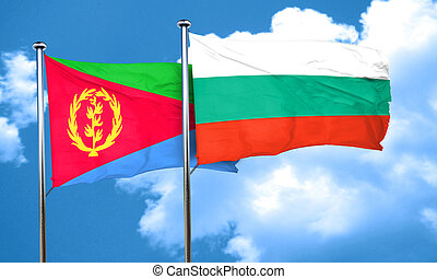 Eritrea flag with Bulgaria flag, 3D rendering