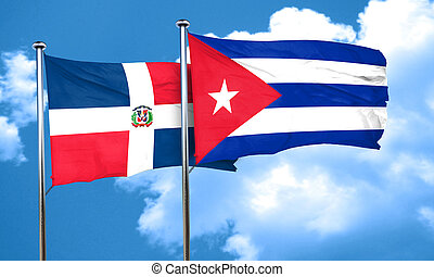 dominican republic flag with cuba flag, 3D rendering
