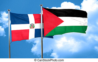 dominican republic flag with Palestine flag, 3D rendering