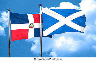 dominican republic flag with Scotland flag, 3D rendering