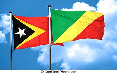 east timor flag with congo flag, 3D rendering