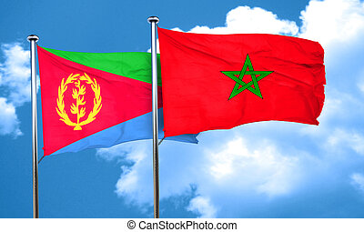 Eritrea flag with Morocco flag, 3D rendering