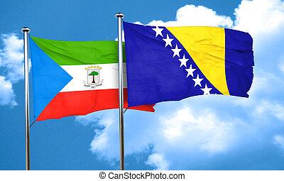 Equatorial guinea flag with Bosnia and Herzegovina flag, 3D...