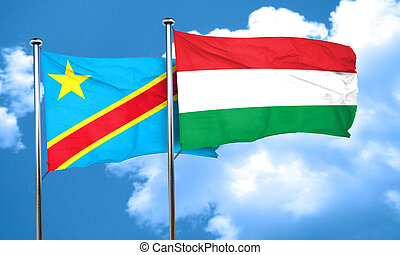 Democratic republic of the congo flag with Hungary flag, 3D...