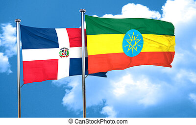 dominican republic flag with Ethiopia flag, 3D rendering
