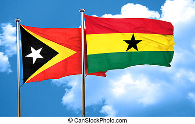 east timor flag with Ghana flag, 3D rendering