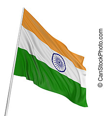 3D Indian flag with fabric surface texture. White...