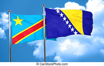 Democratic republic of the congo flag with Bosnia and...