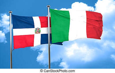 dominican republic flag with Italy flag, 3D rendering