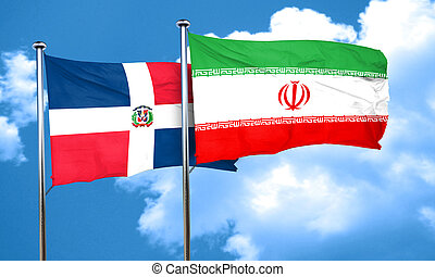 dominican republic flag with Iran flag, 3D rendering