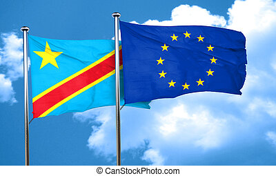 Democratic republic of the congo flag with european union...