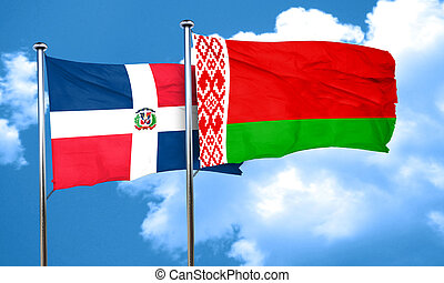 dominican republic flag with Belarus flag, 3D rendering