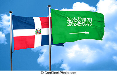 dominican republic flag with Saudi Arabia flag, 3D rendering