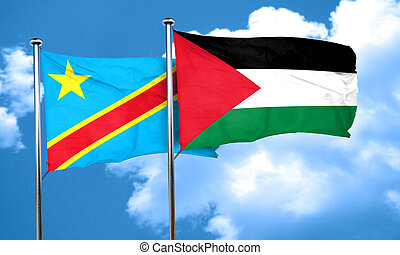 Democratic republic of the congo flag with Palestine flag,...