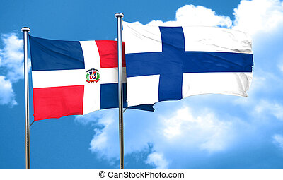 dominican republic flag with Finland flag, 3D rendering