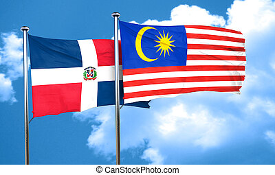 dominican republic flag with Malaysia flag, 3D rendering