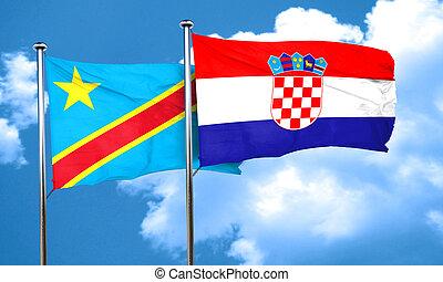 Democratic republic of the congo flag with Croatia flag, 3D...