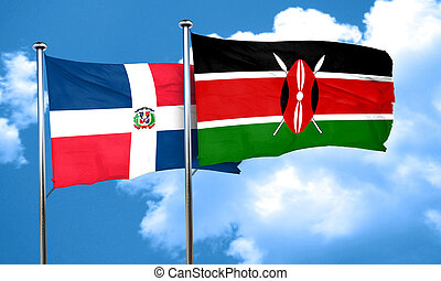 dominican republic flag with Kenya flag, 3D rendering