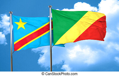 Democratic republic of the congo flag with congo flag, 3D...