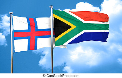 faroe islands flag with South Africa flag, 3D rendering