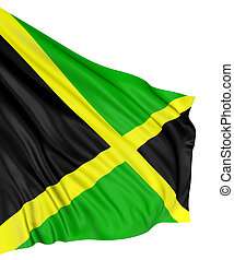 3D Jamaican flag with fabric surface texture. White...