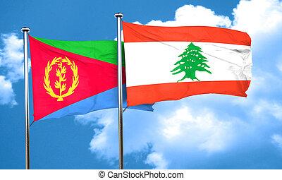 Eritrea flag with Lebanon flag, 3D rendering
