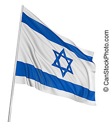 3D Israeli flag with fabric surface texture. White...