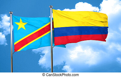 Democratic republic of the congo flag with Colombia flag, 3D...