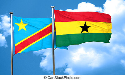 Democratic republic of the congo flag with Ghana flag, 3D...