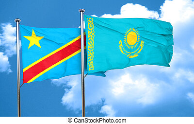 Democratic republic of the congo flag with Kazakhstan flag,...