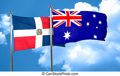 dominican republic flag with Australia flag, 3D rendering