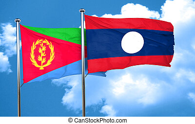 Eritrea flag with Laos flag, 3D rendering