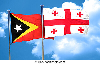 east timor flag with Georgia flag, 3D rendering