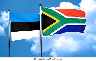 estonia flag with South Africa flag, 3D rendering