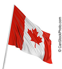 3D Canada Flag with fabric surface texture White background...