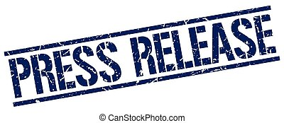 press release blue grunge square vintage rubber stamp