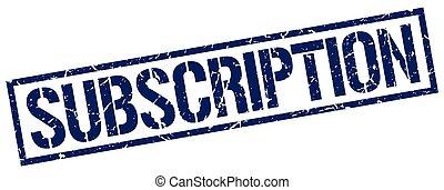 subscription blue grunge square vintage rubber stamp