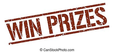 win prizes brown grunge square vintage rubber stamp