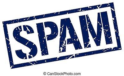 spam blue grunge square vintage rubber stamp