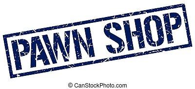 pawn shop blue grunge square vintage rubber stamp
