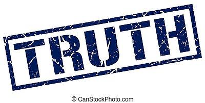 truth blue grunge square vintage rubber stamp