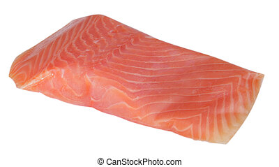 piece of red fish fillet isolated on white