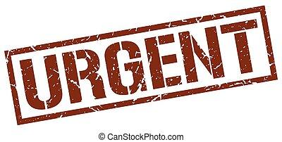 urgent brown grunge square vintage rubber stamp