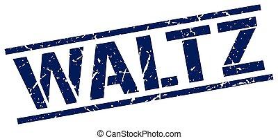 waltz blue grunge square vintage rubber stamp
