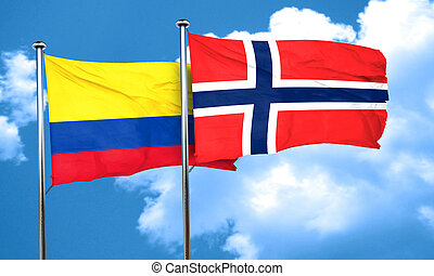 Colombia flag with Norway flag, 3D rendering