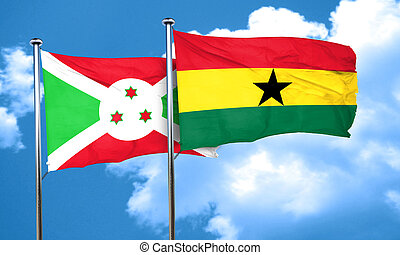 Burundi flag with Ghana flag, 3D rendering