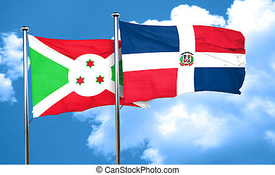 Burundi flag with Dominican Republic flag, 3D rendering