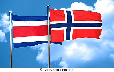 Costa Rica flag with Norway flag, 3D rendering