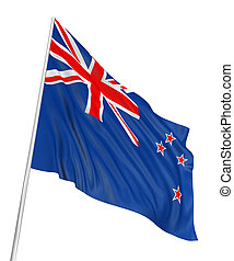 3D New Zealand flag with fabric surface texture White...