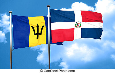 Barbados flag with Dominican Republic flag, 3D rendering